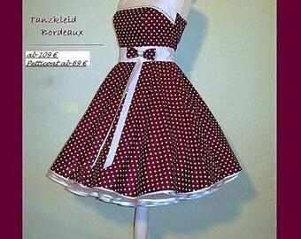 Rockabilly Wedding, Custom Made, Wedding Dress Bordeaux, Petticoat Dress, Nechholder Dress, Prom Dress, Confirmation  Dress
