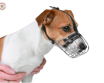 Dog Muzzle Jack Russell Terrier Metal Leather Adjustable, Muzzle Dog