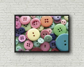 Buttons Photography - Digital Download - Button Print - Button Photographic Art Print - Seamstress Craft Room Decor