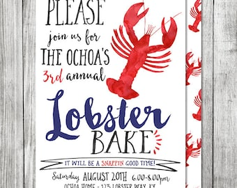 Lobster Boil or Lobster Bake Party Invite - 5x7 JPG (Front and Back Design)