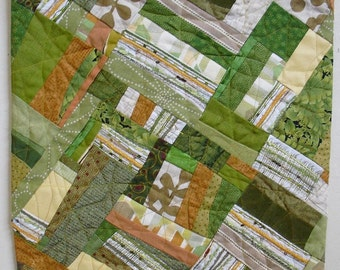 ECOFiber Art Wall Hanging, contemporary art, fabric collage, shades of  greens, with orange and yellow highlights handmade OOAK wall quilt