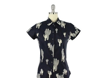 SUMMER SALE!!Rockabilly Cactus Navy Blue Top With Snaps XS-4XL
