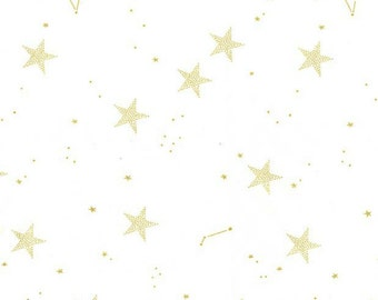Michael Miller - Magic Collection by Sarah Jane - Lucky Stars in White Metallic