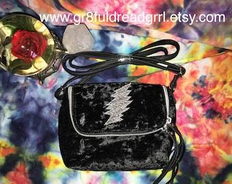 Grateful Dead Black Velvet Purse Glow In Dark 13 PT Bolt Crossbody Shiny Fabric Silver