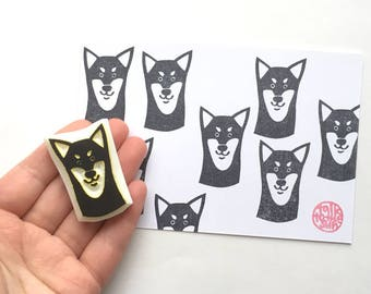 shiba inu rubber stamp | puppy dog stamp | dog lover craft gift | birthday card making | diy art journal | hand carved by talktothesun