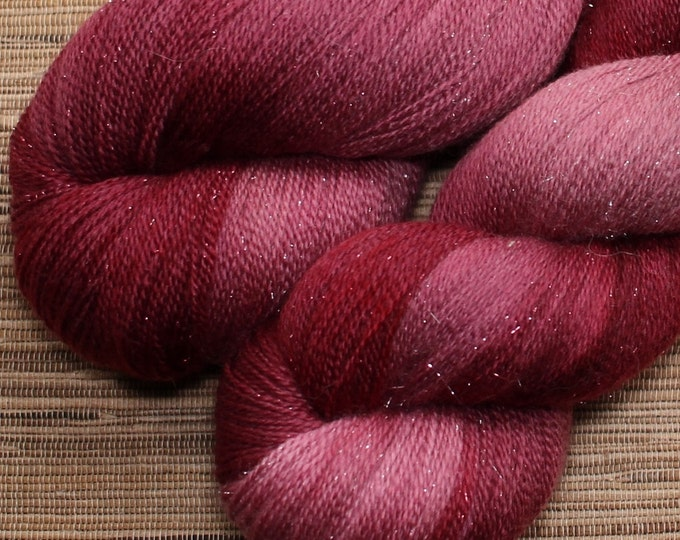 Hand dyed yarn - 100g Shimmer Extrafine Merino -  lace weight (2 ply) in 'Rose'
