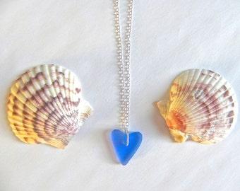 Sea glass heart necklace, blue sea glass heart, beach necklace, sea glass jewelry, heart pendant