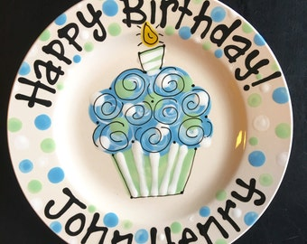 Hand Painted Personalized Birthday Plate - Blue and Pale Green Cupcake