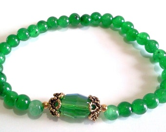 Green Malaysia Jade Bead Bracelet, Green Stone Beaded Bracelet, Faceted Crystal Jewelry