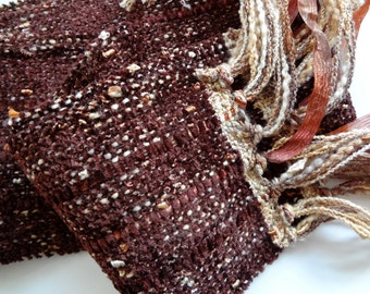 handwoven scarf in brown mocha