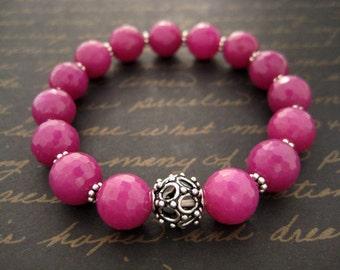 Fuschia bali silver bracelet