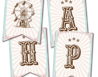 Pink Circus / Country Fair Happy Birthday Banner, Instant Download, Print Your Own