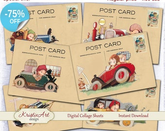 75% OFF SALE Baby Travel - Digital Collage Sheet Digital Cards C163 Printable Download Image Tags Travel Atc Cards ACEO Baby Cards Child Atc