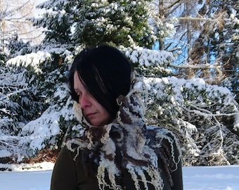 Felted cowl neck warmer