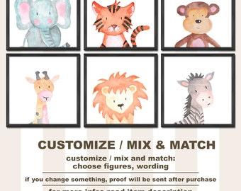 safari animals baby room decor, safari nursery prints, jungle nursery art, watercolor safari animals, safari baby decor, safari kids room