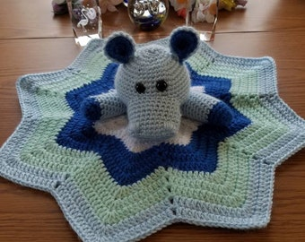 Crocheted hippo lovey baby security blanket baby shower gift