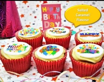 Happy Birthday Salted Caramel 15 Cupcake Gift Box