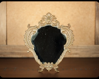 Vintage mirror, mirror easel to install, beveled mirror, mirror, brass, seed beads, vanity mirror, interior design home decor
