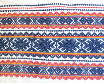 Vintage Traditional Textile, Decorative Home Loomed Towel, Handwoven Linen, Decorative Towel, Vintage Etno Pattern Deco Towel