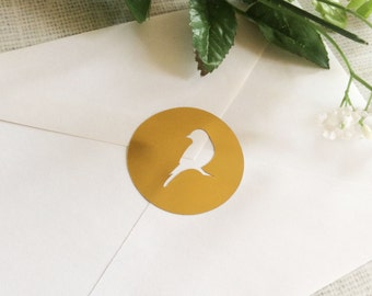 Bird Gold Foil Envelope Seals, Gold Foil Stickers - Set of 24 - wedding invitation decoration - wedding favor stickers