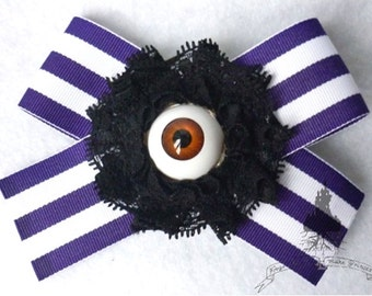 The Eye of the Steampunk Barber Hair Pin - Purple White Stripes Tim Burton Gothic Sweeney Todd Macabre