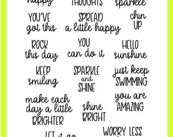Choose Happy Clear Stamps - Use in your Planner, Erin Condren, Filofax, Travelers Notebook - Smiling, Sparkle, Shine, You've Got This