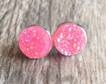 Pink Druzy Earrings,  Resin Druzy Earrings, Gemstone Earrings, Druzy Stud Earrings, Silver Druzy Jewelry