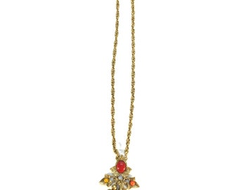 Vintage Gold Charm Necklace with Red, Yellow, Orange and Green Beads