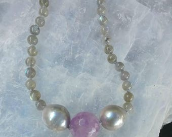 Genuine Pearl, Amethyst, and Labradorite long beaded Necklace.  Handmade, one of a kind