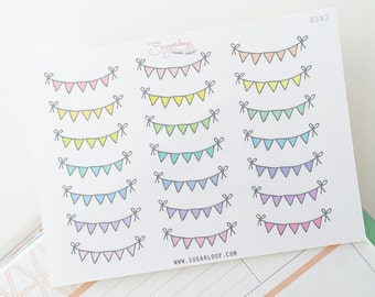 Mini Bunting Planner Stickers, 21 Tiny Bunting Banners, Highlight Birthdays, Events and Celebrations, Weekend Bunting Stickers, BUN2