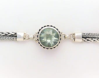 Sterling Silver 4.50ct Green Amethyst Toggle Bracelet