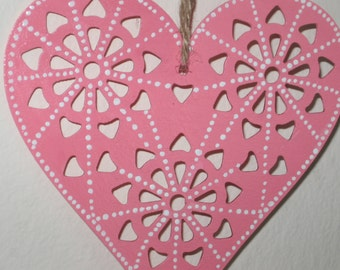 Pink Valentine Heart, die-cut wood with white hand-painted details