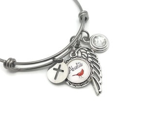 Sympathy Gift, Memorial Bracelet with Cardinal, Cross, Angel Wing and Birthstone, Memorial Jewelry, Keepsake in Remembrance of Loved One