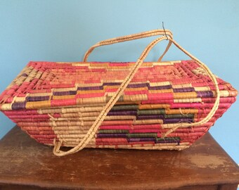 Vintage Woven Colorful Basket with Handles, 21""