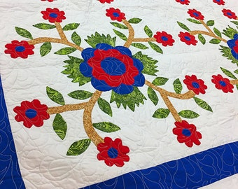 Traditional and Graphic Hand Applique Rose of Sharon FINISHED QUILT