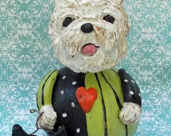 Folk Art Vintage Halloween Westie West Hylander Dog Gourd Nostalgic Art Gourd Doll W Cat Jol