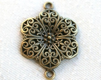 2 Antique Bronze Flower Filigree Connector - Charm/Pendant  CB-0001
