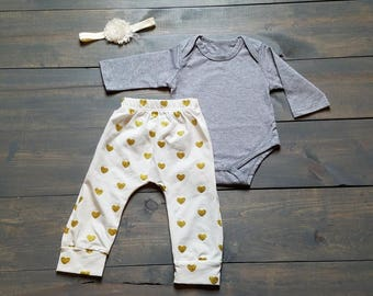 Infant Baby Girl Outfit 3 Piece Set, Glitter Heart Pants  #G-13