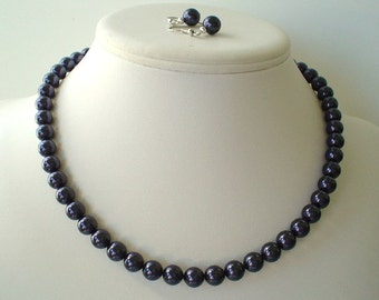 Single Strand Dark Purple Eggplant Swarovski Pearl Beaded Necklace and Earring Set    Great Brides or Bridesmaid Gifts