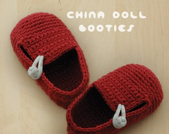 Crochet Pattern Baby China Doll Booties Baby Loafers Newborn Socks China Doll Shoes Red Chinese Knot Baby Slippers Crochet Patterns Shoes