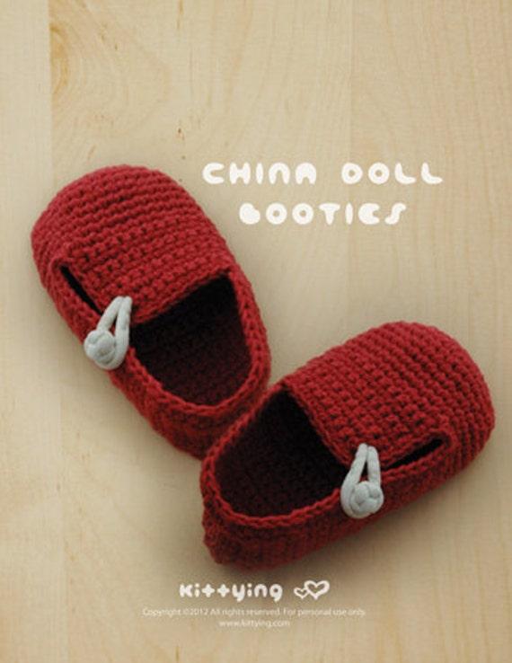 Crochet Pattern Baby China Doll Booties Baby Loafers Newborn Socks