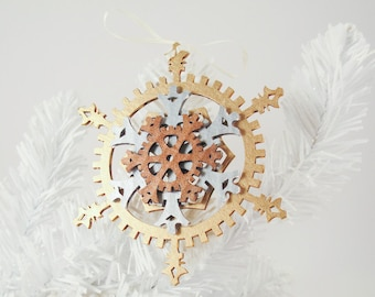 Classic 5-inch Steampunk Snowflake Gears Ornament