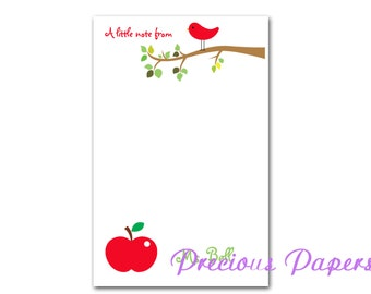 Personalized Teacher notepads Personalized teacher gift Personalized teacher red bird note pad