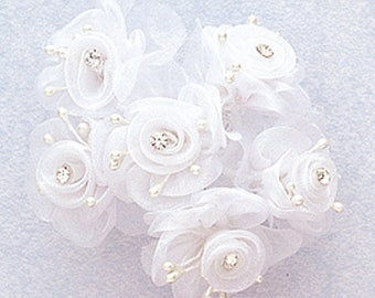 "1.5"" White Organza Flowers with Rhinestone 18 flowers"