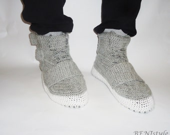 Crochet boots for adults, Crochet shoes, Shoes for house, The Yezzy 750 Boost, Gray Men's Shoes, Sports Shoes for Men, Unisex's Shoes,