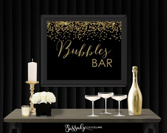 Bubbles Bar Gatsby Gold Confetti Party Poster - INSTANT DOWNLOAD - Printable Party Wedding Birthday Art Deco 1920s Bar Champagne Bubbly Sign