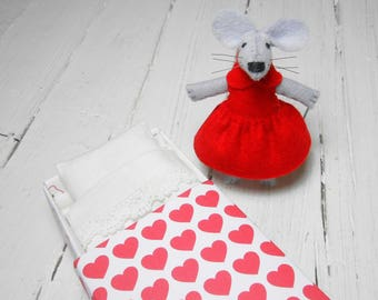 Mothers day gift  gift for her stuffed mouse gift for kids red heart plush mouse felt plush felt animal mouse in a matchbox hand made doll