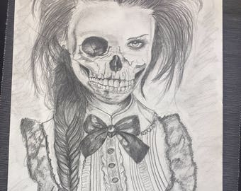 Deathskull drawing of a girl. 46x30 cm