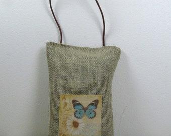 Lavender sachet in linen hanging - Butterfly