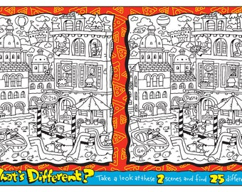 WHATS DIFFERENT COLORING Printable Kids Game 1